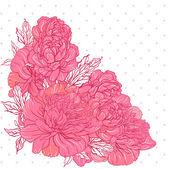 Design bouquet bellissima peonia — Vettoriale Stock