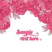 Beautiful peony bouquet design — Stock Vector