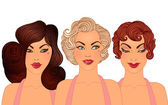 Hairstyles and makeup styles of 1950s. — Stock Vector