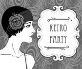 Flapper girl: Retro party invitation design. — Stock Vector
