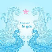 Kare dalga ve deniz yıldızı ile — Stok Vektör