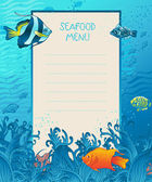 Seafood menu design background — Stock Vector