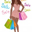 African american girl with shopping bags — Vector de stock