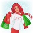 Winter shopping — Stock Vector