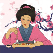 Traditional japanese pretty girl enjoy sushi — Stock Vector