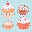 Cartoon funny cupcake set — Stock Vector