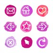 Purple set of round watercolor icons — Vector de stock