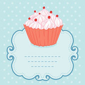 Vintage style frame funny cupcake — Stock Vector