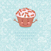 Vintage style frame funny cupcake — Stockvector