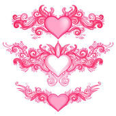 Hand-Drawn Abstract Hearts — Stock Vector