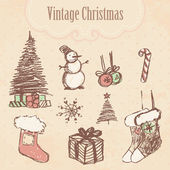 Vintage hand drawn christmas set. — Stock Vector