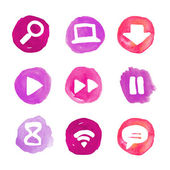 Purple set of round watercolor icons — Stock Vector