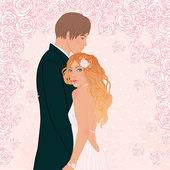 Pink wedding background with couple and flowers — Stock vektor