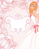 Wedding invitation design with bride — Stock Vector