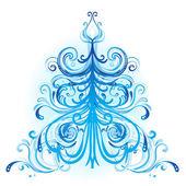 Blue winter tree with swirls — Stock Vector