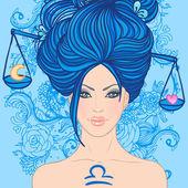 Libra zodiac sign as a beautiful girl — Stock Vector