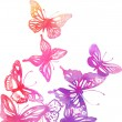 Butterflies and flowers painted with watercolors — Stock Vector