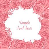 Roses frame floral background — Stock Vector