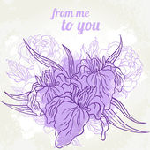Beautiful iris bouquet design — Stock Vector