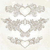 Abstract Hearts, Swirls Sketchy — Stock Vector