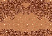 Olive vintage valentine frame — Vettoriale Stock