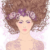 Virgo astrological sign as a beautiful girl. — Stockvector