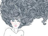 Beautiful woman with long hair — Stock Vector