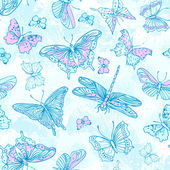 Butterflies in blue and pink — Stock Vector
