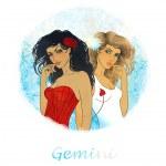 Gemini zodiac sign as a two beautiful girls — Stock Photo #40838495