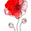 Stock Photo: Red watercolor poppy
