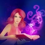 Girl holding a magic book — Stock Photo