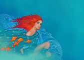 Pisces zodiac sign as a beautiful girl — Stock Photo