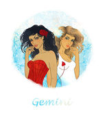 Gemini zodiac sign as a two beautiful girls — Stock Photo
