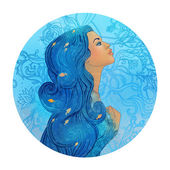 Aquarius astrological sign as a beautiful girl — Stock Photo