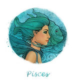 Pisces zodiac sign as a beautiful girl — Stock Photo