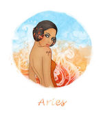 Aries zodiac sign as a beautiful girl — Stock Photo