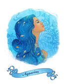 Aquarius astrological sign as a beautiful girl — Photo