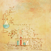 Old chemistry laboratory background in vintage style — Stock Photo