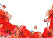 Red watercolor poppy background — Stock fotografie