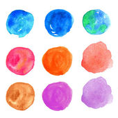 Watercolor hand painted circle design elements — Stock Photo