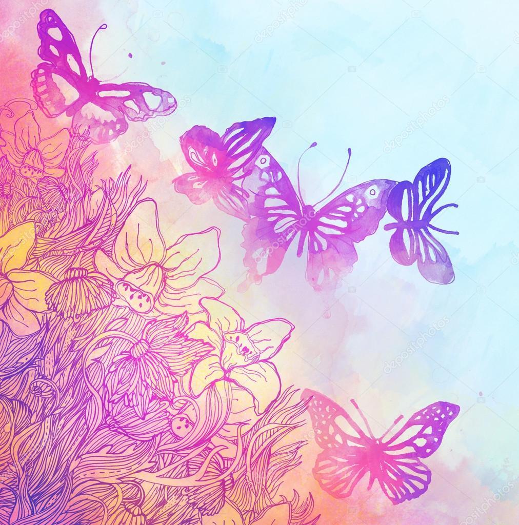sfondo con farfalle e fiori foto stock vgorbash 40838799