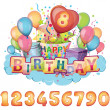 Happy birthday set — Stock Vector