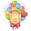 Stock Vector: Balloons on eighth birthday