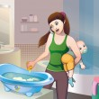 Vector de stock : Bathing baby