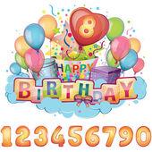 Feliz cumpleaños conjunto — Vector de stock