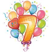 Balloons on the seventh birthday — Stock Vector