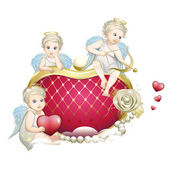 Angels on the heart — Stock Vector
