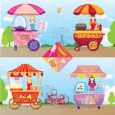 Popcorn, cotton candy, hotdog, ice cream set — Stock Vector
