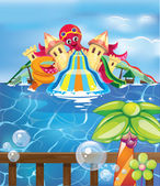 Aqua park with octopus — Stock Vector