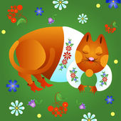 Fabulous red cat — Stock Vector